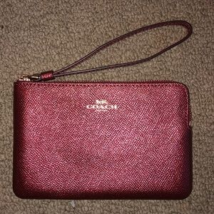 Metallic Blush Coach Cornerzip Wristlet